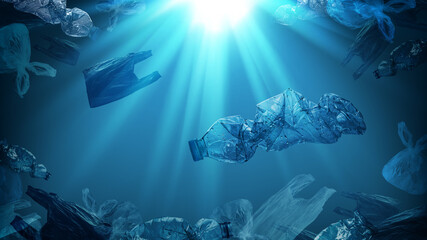 creative background of PET plastic bottles and single-use plastic bags floating in sea or ocean with rays of sunlight effect, polyethylene terephthalate plastic, concept of environmental pollution.