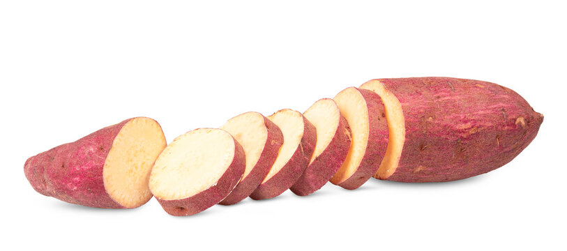 Sweet potato isolated with shadow on white background. Clipping path