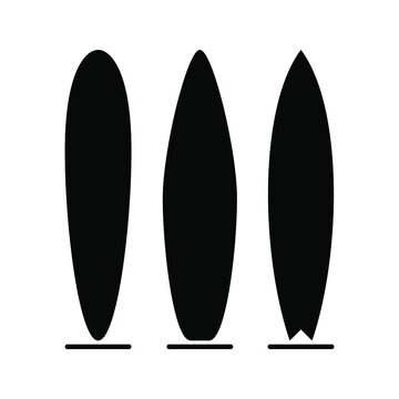 Set of surfboard on white background. Sea extreme sport. Wood surf board Summer Surfing trendy flat style for graphic design, web-site. Vector illustration. EPS10