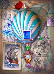 Travel by balloon. Surreal and steampunk hot air balloon with old papers, drawings and maps