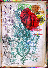 Alchemy and mysteries. Old papers and mysterious manuscripts with magical and esoteric symbols, drawings and formulas