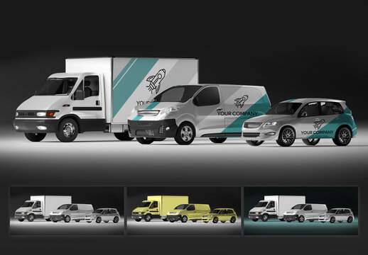 Mockup of a Series of Vehicles