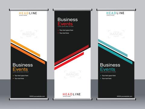 Business banner roll up set,standee banner template,Modern banner.