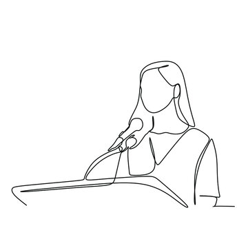 A young woman giving speech. Continuous single line illustration drawing vector