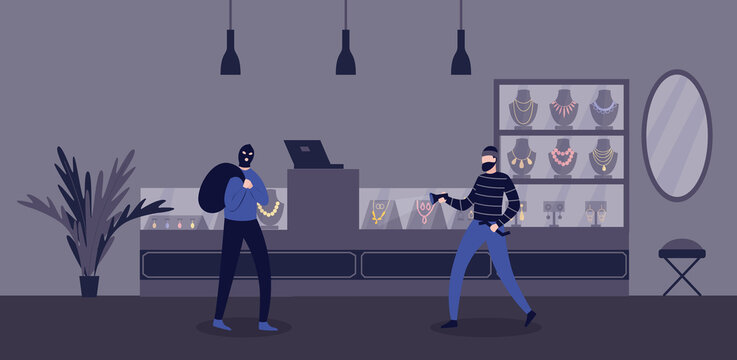 Jewelry store robbery criminal scene with burglars flat vector illustration.