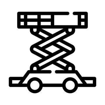 scissor lift line icon vector isolated illustration