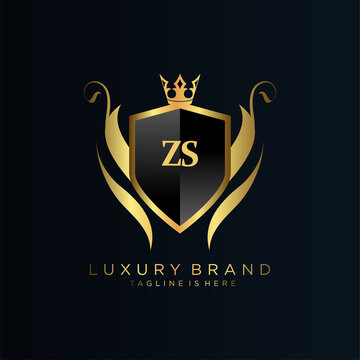 ZS Letter Initial with Royal Template.elegant with crown logo vector, Creative Lettering Logo Vector Illustration.