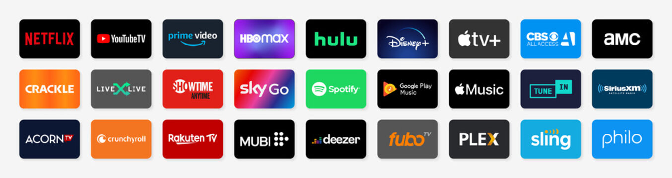 Popular TV and Music streaming service buttons set. Flat design buttons with colored background and shadow. Vector illustration EPS10
