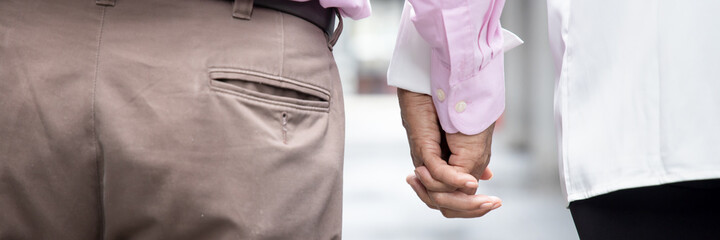 lovely senior couple holding hand, rear view