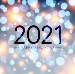 Foto auf Leinwand Vogel auf Asten 2021 happy new year sign on misted glass.