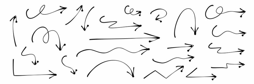 Hand drawn arrows doodle. Handmade sketch symbols set direction mark on a white background. vector illustration graphic design elements.
