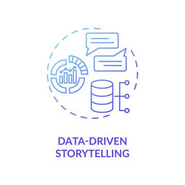 Data-driven storytelling concept icon. Increase target audience engagement idea thin line illustration. Niche marketing. Customer goals identification. Vector isolated outline RGB color drawing