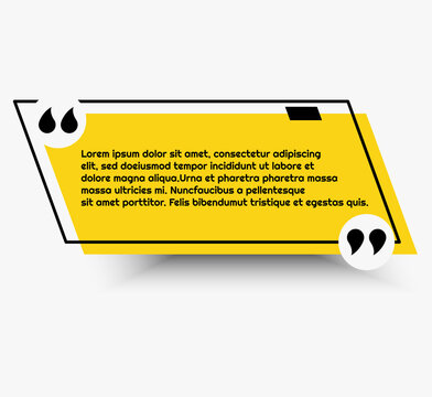 Simple yellow quote banner with quotation marks nad outline