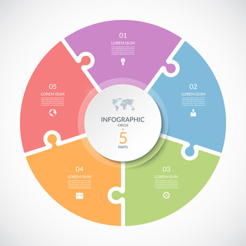 Vector infographic puzzle circular template. Cycle diagram with 5 parts, options. Can be used for chart, graph, report, presentation, web design.