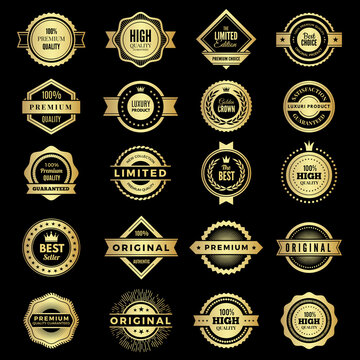 Badges collection. Premium promo high quality logos or badges warranty stamps vector shape. Badge label premium, guarantee and best emblem illustration