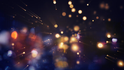 Festive abstract christmas texture, golden bokeh particles and highlights on dark background