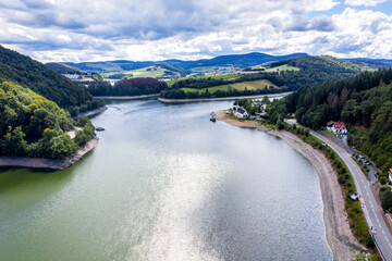 the Diemelsee lake in hesse germany from above