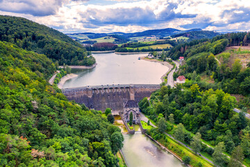 the Diemelsee dam  in hesse germany from above