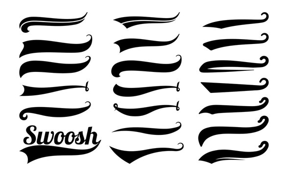 Swoosh tails. Swirl sport typography element, isolated curly text pennants. Black retro calligraphy strokes or ornament designs vector set. Curve swash drawn, scroll ornament calligraphic illustration