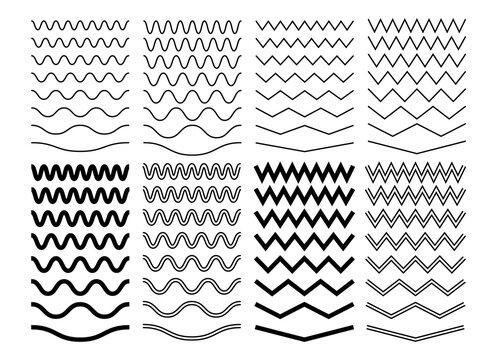 Zigzag wave lines. Geometric zig zag pattern, isolated curve borders. Wavy decoration divider, black curvature separator sine. Parallel graphic strokes vector set. Illustration pattern zig zag