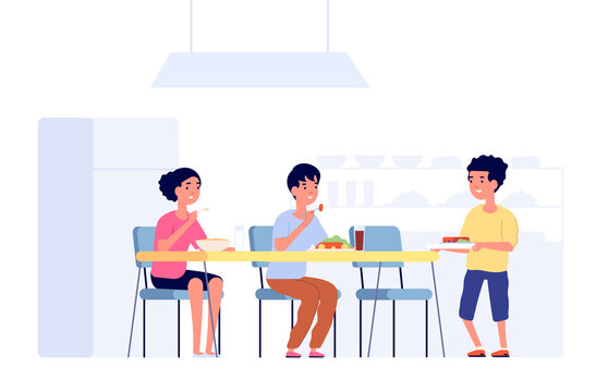 Children on lunch. School kids eating, cafeteria room table. Flat students in canteen meeting new friend, dining time vector illustration. Children dinner in canteen school breakfast eating