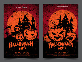 Halloween night party background with full Moon, Halloween banners with pumpkins.