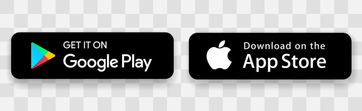 Buttons black color Apple App Store, Google Play Store. Mobile app download button with shadow. Isolated on a transparent background - stock vector