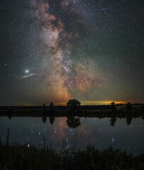 Astro-landscape. The milky way reflected in the lake