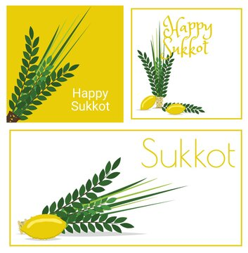 Happy Sukkot set of flyers or posters.
