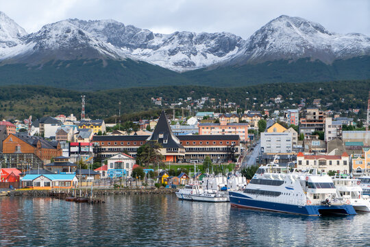 Argentina, Patagonia, in the city of Ushuaia. View on the Harbour from the sea side.