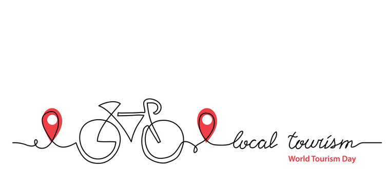 Local tourism simple web banner ,background, poster with pinpoint icon and bicycle. Vector minimalist background. One continuous line drawing with lettering local tourism.