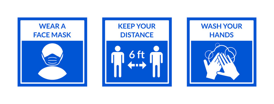 Square Warning Signs Showing a Basic Set of Measures against the Spread of Coronavirus Covid-19 including Wear a Face Mask, Keep Your Distance 6 ft or 6 Feet and Wash Your Hands. Vector Image.
