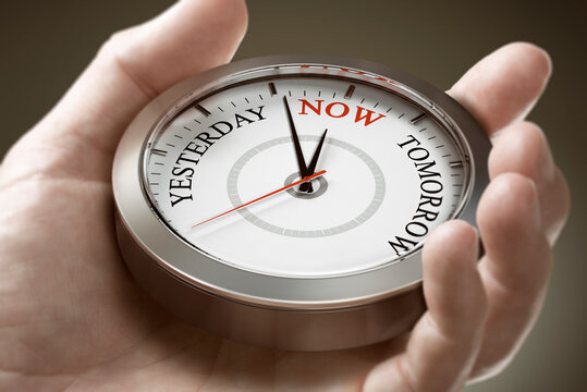 Time management. Living in the present moment. Psychology Concept.