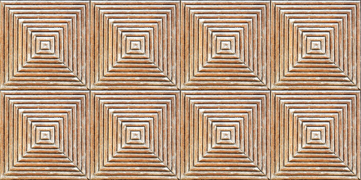 Seamless 3D Wooden background, Decorative relief tile, Wood texture ,Yellow and Brown perspective background that looks like a square tunnel. Wooden Panel, symmetrical zebrawood square table.
