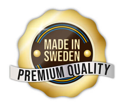"""""""Made in Sweden"""" badge, for goods, web, products."""