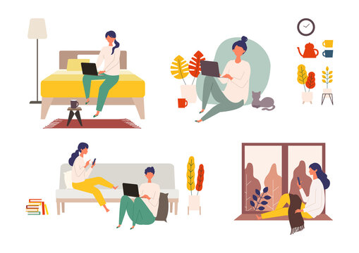 Vector illustration of people checking the web in the autumn. Man and woman have a relaxing day off.