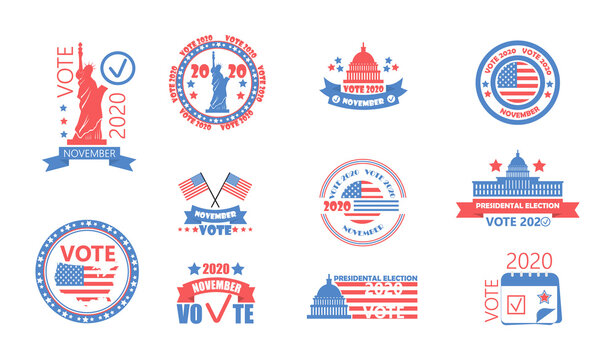 2020 United States of American Presidential Election in November 3. Electoral campaign, agitation, reelection calling banner set vector, flyer. Vote 2020
