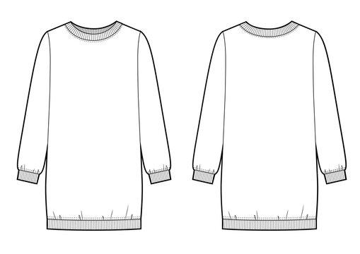 Sweatshirt dress fashion flat sketch. Illustrator vector