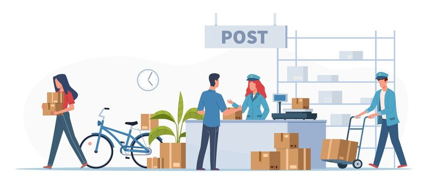 Post delivery office. Postmen, courier and people with boxes and letters in post reception, order receiving or parcel, mail service postage stamp envelopes vector flat illustration