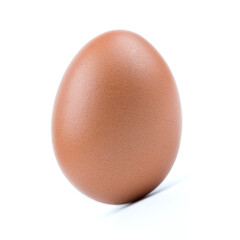 Single brown eggs isolated from white background.