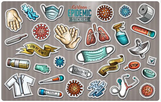Doodle cartoon set of Epidemic theme stickers