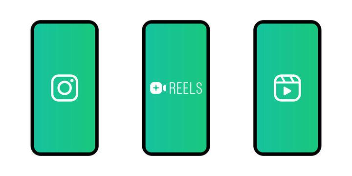 Rivne, Ukraine, 8 of September 2020, Instagram reels icon vector flat logo. New internet social network media app in mobile phone on green backgorund.