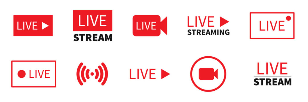 Set of live stream icon. Vector live streaming symbol.