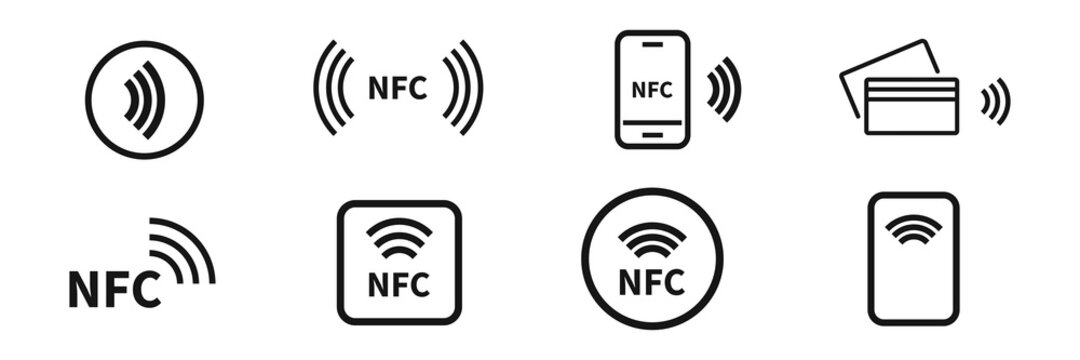 NFC icon set. Wireless payment symbol collection.