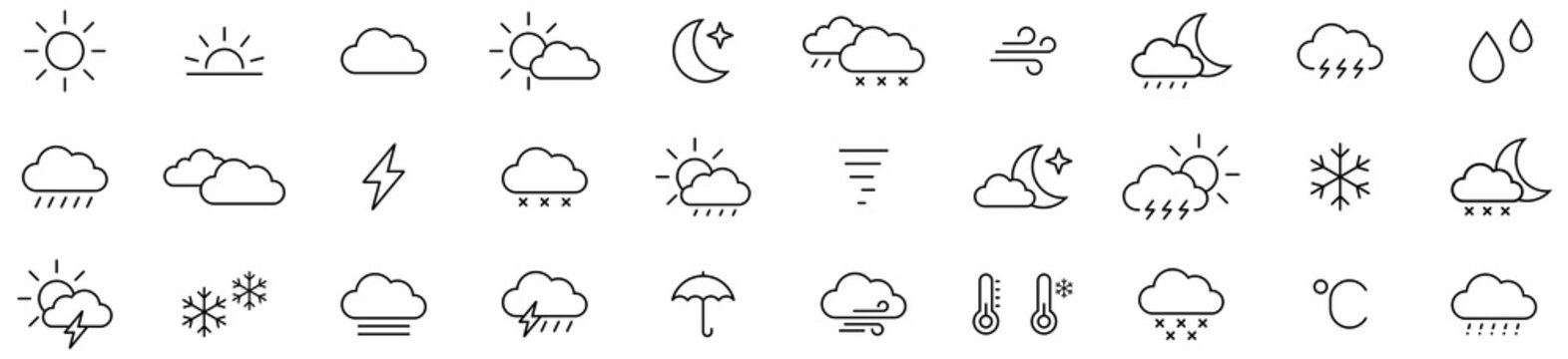 Weather icon set isolated on white background. Weather sign. Vector