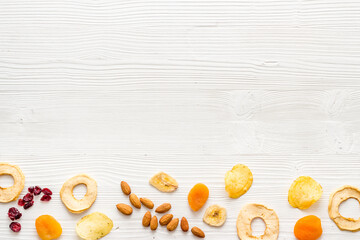 Healthy snacks for students - nuts and fruits mix top view