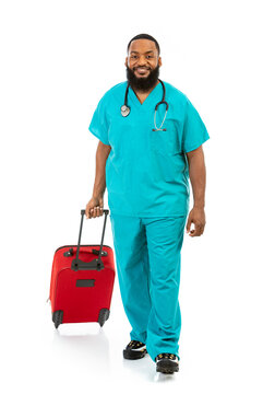 Smiling Doctor Ready To Travel With Red Suitcase
