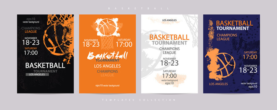 Collection of colored basketball designs, grunge style, sketch. Hand drawing. Sports print, template sports covers, basketball hoop. EPS file is layered.