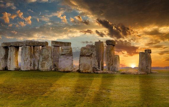 Magic Sunset at Stonehenge Prehistoric Monument, UK