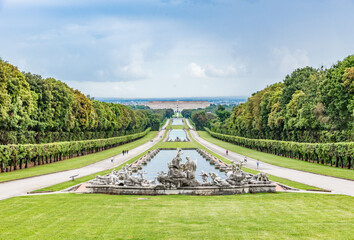 CASERTA, ITALY - MAY 30, 2019: The Royal Palace of Caserta (Italian: Reggia di Caserta) is a former royal residence in Caserta, southern Italy, and was designated a UNESCO World Heritage Site.